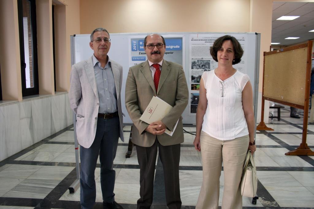 Jorge López, director de la Escuela Politécnica Superior de Sevilla, Manuel García León, vicerrector de Investigación de la US, y Manuela Ruiz, subdirectora de Investigación y Posgrado de la Escuela