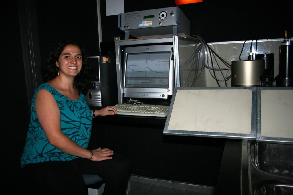 La investigadora Alicia Medialdea en el CITIUS